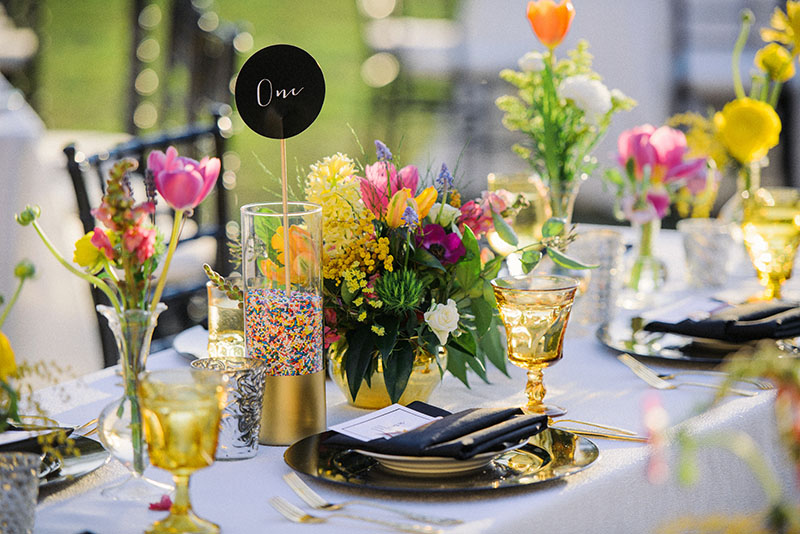Rainbow-Sprinkles-in-Gold-Dipped-Vase-Table-Number-Display
